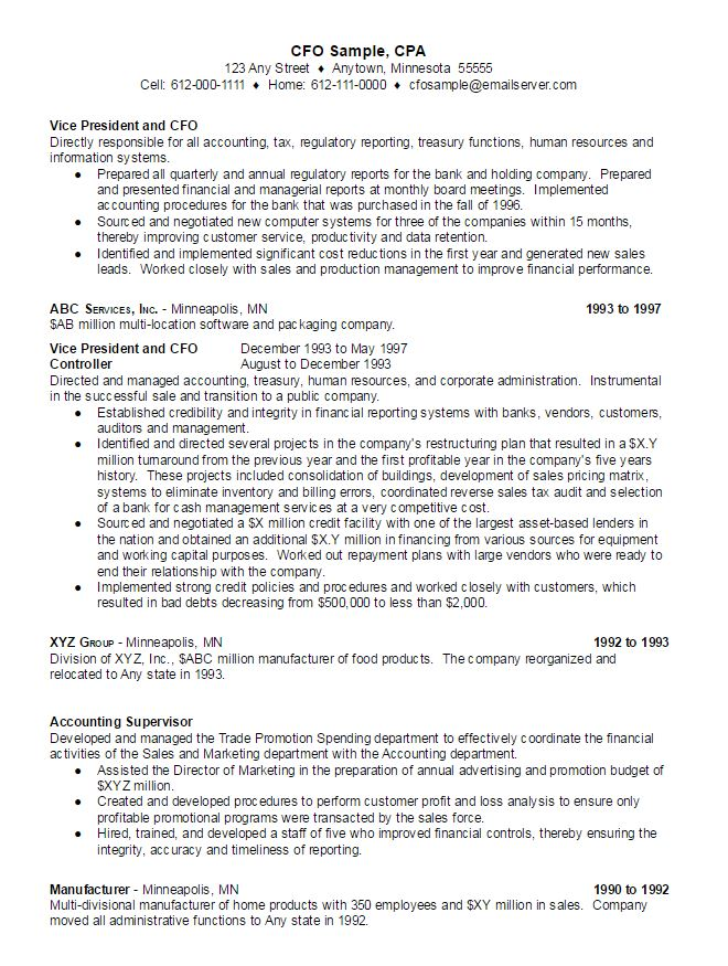 cfo sample resume ambrionambrion minneapolis executive search