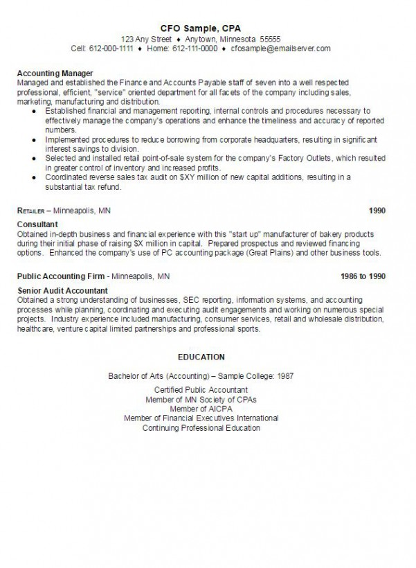 Cfo Sample Resume | Ambrionambrion - Minneapolis Executive Search