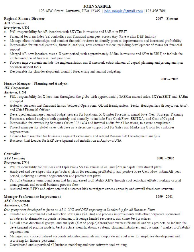 finance director sample resume - ambrion