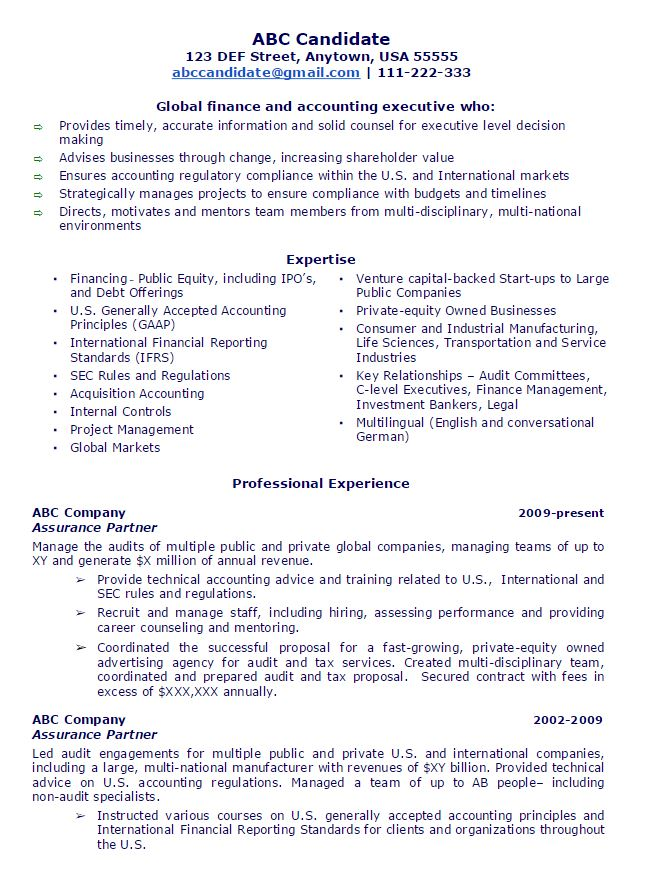 Public Accounting Partner 1. Flame CFO Resume Sample