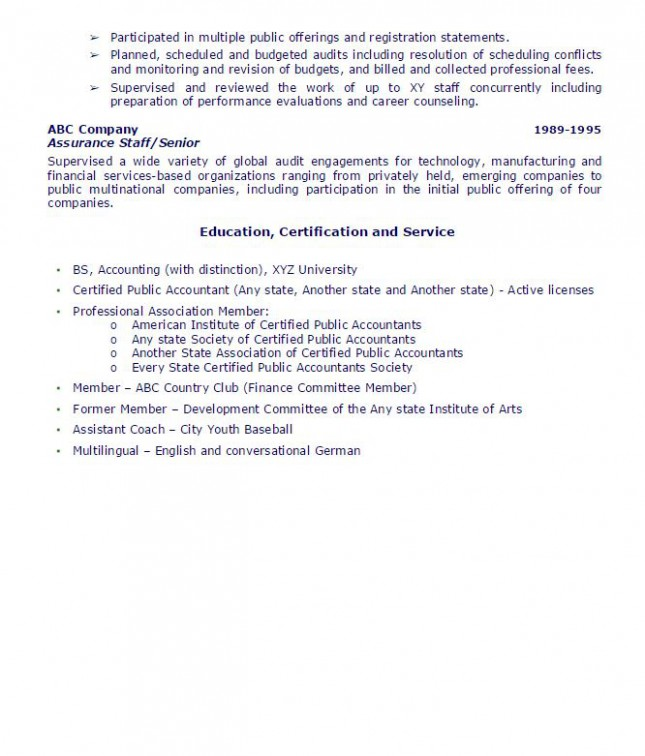 public accounting partner sample resume - ambrion