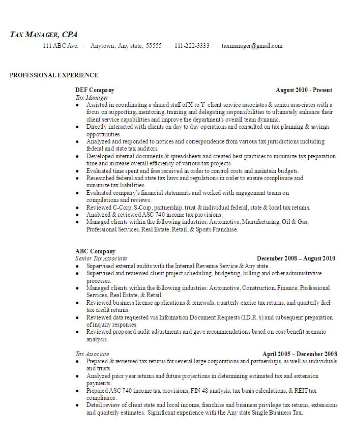 Tax Manager Sample Resume Ambriontax Manager Sample Resume