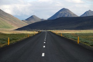 road with guideposts
